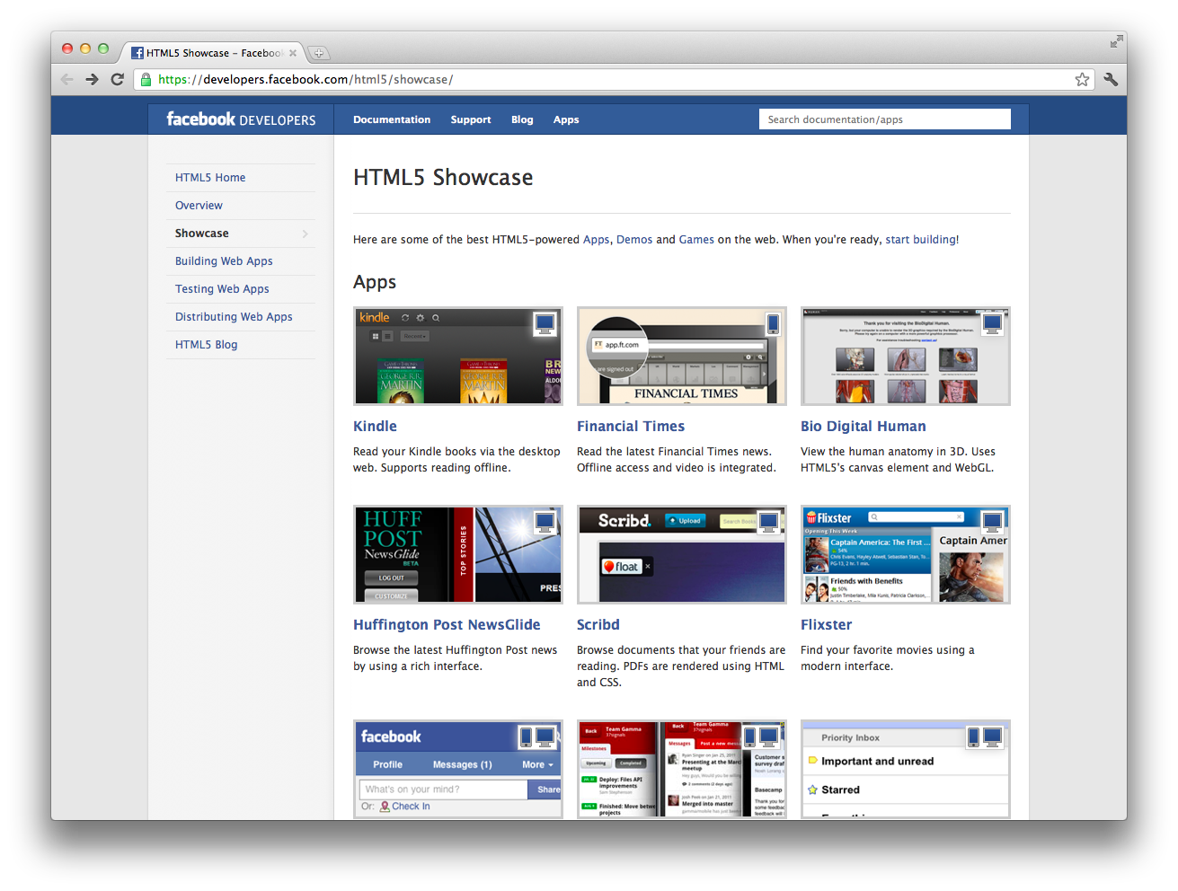 Facebook HTML5 showcase