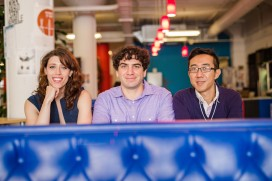 Kendra Gibbons, Director of Engineering and Co-founder, Bradley Ross, CEO and Co-founder (center), Bigi Lui, CTO and Co-founder (left)