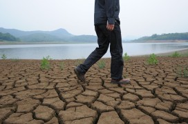 A man walks along the dried-up the banks of the Yangtze river in China (STR/AFP/Getty Images)