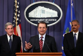 US Attorney General Eric Holder (R), Preet Bharara, US Attorney for the Southern District of New York (C) and FBI director Robert Mueller (L) announce a plot was foiled involving men allegedly linked to the Iranian government to kill the Saudi ambassador to the US. Photo credit: Getty Images