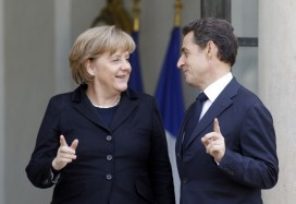 Nicolas Sarkozy and Angela Merkel prior to their meeting at the Elysee Palace on Monday. Photo: Remy de la Mauvinere/AP
