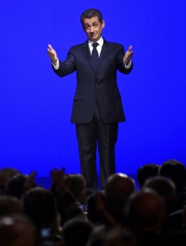 Sarkozy after delivering a speech on the eurozone crisis in Toulon. Photo: Jean-Paul Pelissier/Reuters