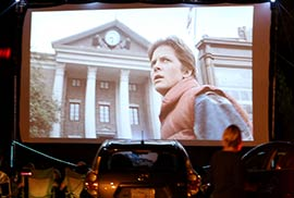 Drive-in movie shows 'Marty McFly' from Back to the Future