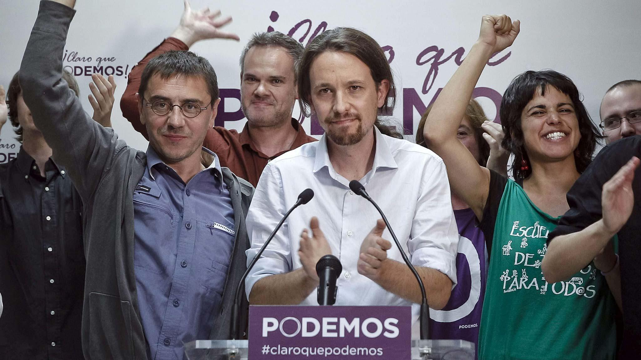 """Pablo Iglesias, leader del movimento popolare spagnolo """"Podemos"""", dato oggi al 16% (http://blogs.ft.com)"""