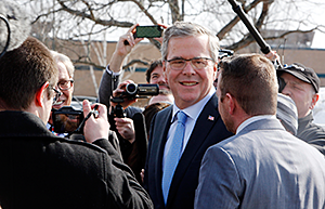 Former Florida Gov. Jeb Bush arrives for a stop at Integra Biosciences Friday, March 13, 2015, in Hudson, N.H.