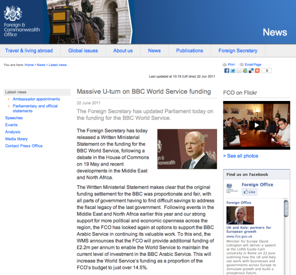 Foreign office website at 10.15 on Wednesday morning