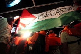 Activists on board the Mavi Marmara before it was raided