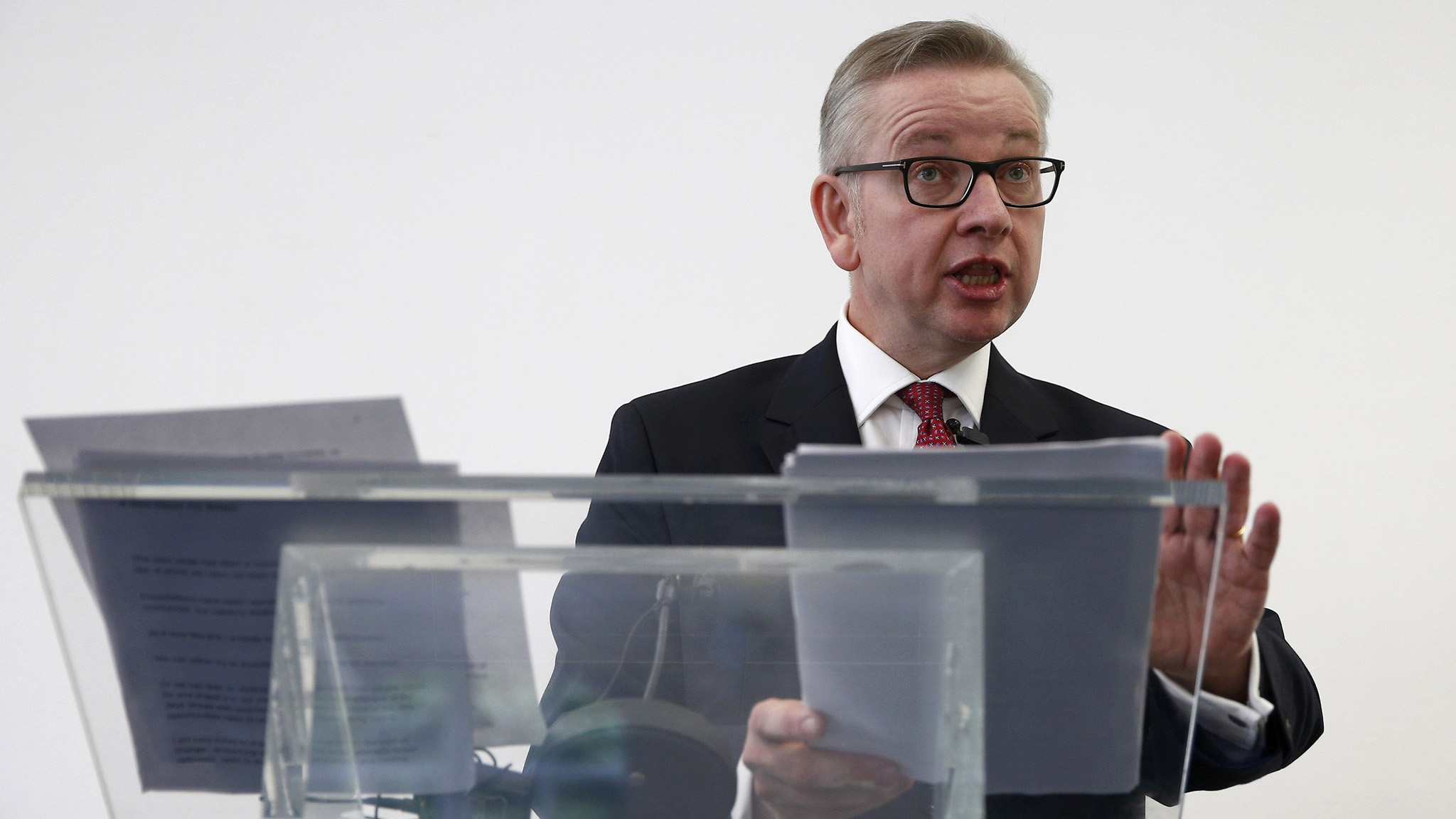 Britain's Justice Secretary, Michael Gove, delivers his speech after announcing his bid to become Conservative Party leader, in London