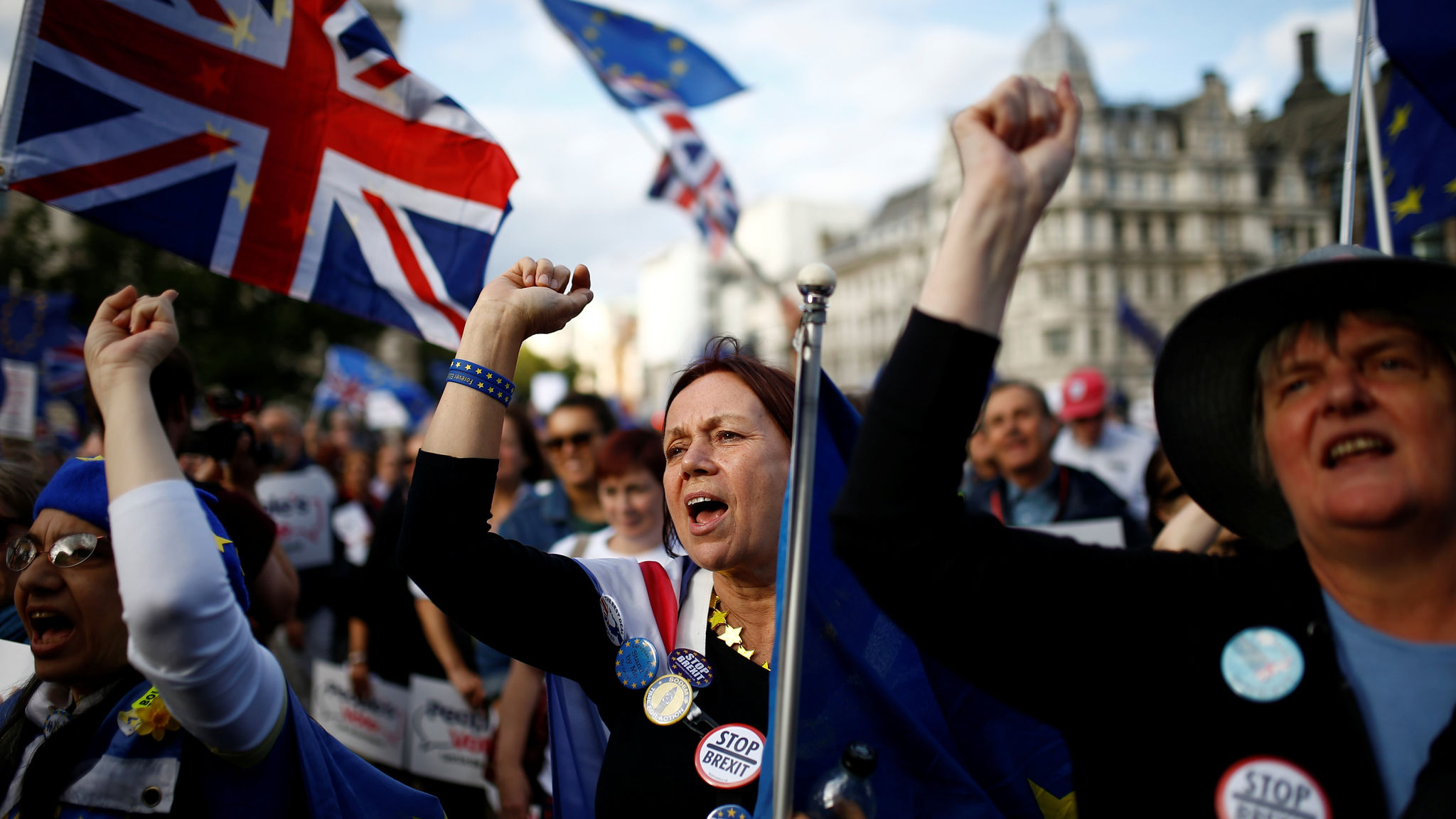 Anti-Brexit protesters demonstrate outside the Houses of Parliament in London